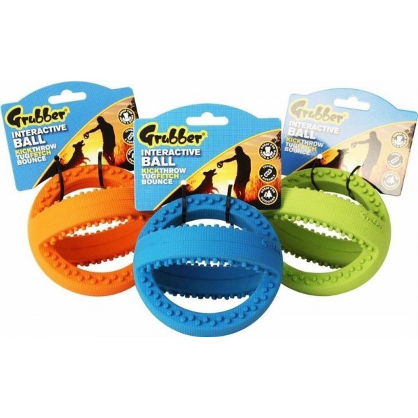INTERACTIVE GRUBBER FOOTBALL TOUGH RUBBER TOY FOR DOGS IT CLEANS TEETH & GUMS