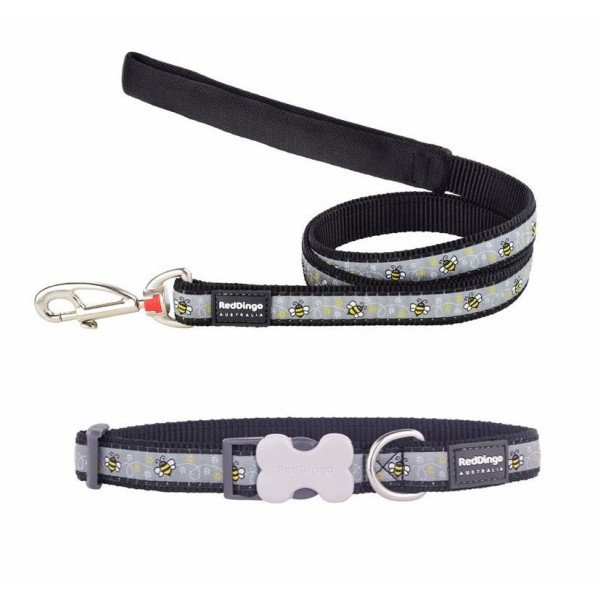 RED DINGO FULLY ADJUSTABLE DOG / PUPPY COLLAR & LEAD BUMBLE BEE BLACK