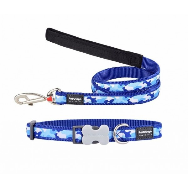 RED DINGO FULLY ADJUSTABLE DOG / PUPPY COLLAR & LEAD BLUE CAMOUFLAGE
