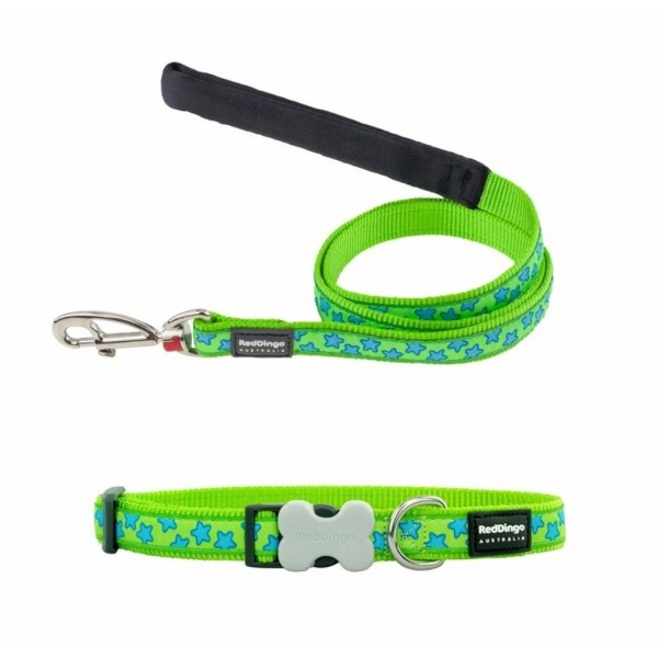 RED DINGO FULLY ADJUSTABLE DOG / PUPPY COLLAR & LEAD LIME GREEN STARS