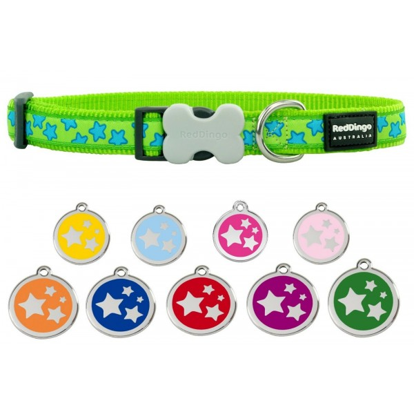 RED DINGO  ADJUSTABLE DOG / PUPPY COLLARS LIME GREEN STARS & DOG TAG
