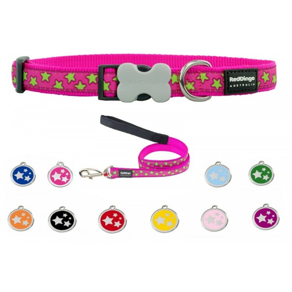 RED DINGO ADJUSTABLE DOG / PUPPY COLLAR & LEAD HOT PINK STARS AND TAG