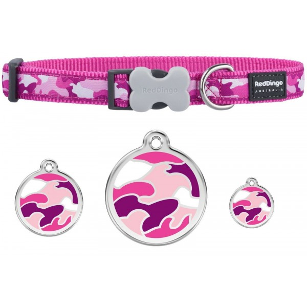 RED DINGO  ADJUSTABLE DOG / PUPPY COLLARS PINK CAMOUFLAGE & DOG TAG