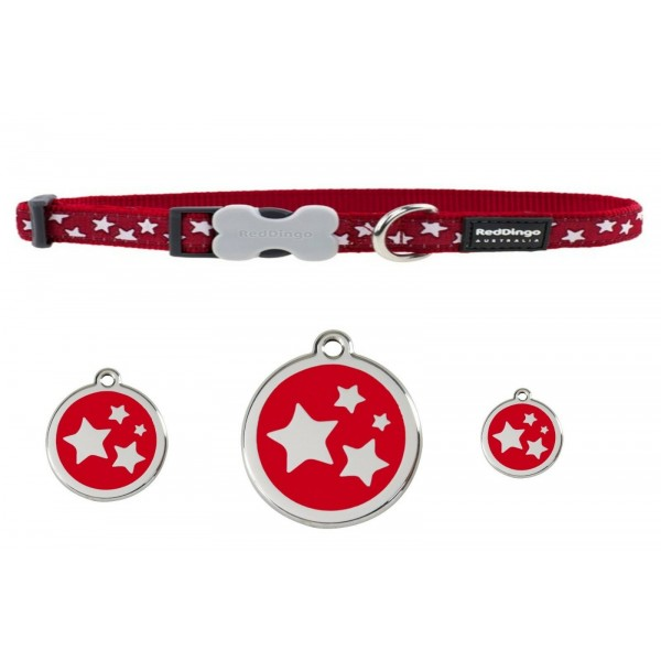 RED DINGO  ADJUSTABLE DOG / PUPPY COLLARS RED STAR & DOG TAG