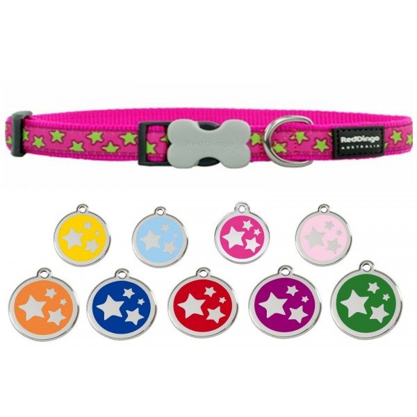 RED DINGO  ADJUSTABLE DOG / PUPPY COLLARS HOT PINK WITH STARS & DOG TAG