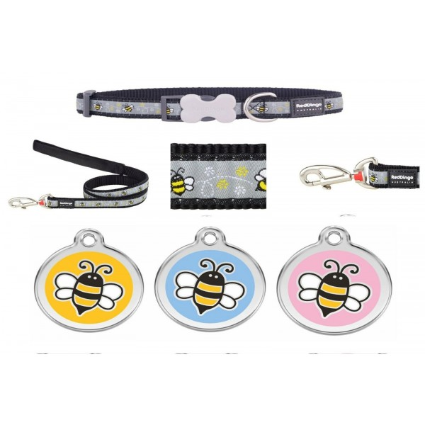 RED DINGO ADJUSTABLE DOG / PUPPY COLLAR & LEAD BUMBLEBEE BLACK AND TAG