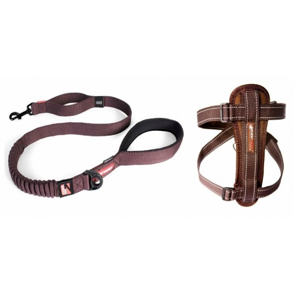 EZY-DOG 48 INCH ZERO SHOCK LEAD AND MATCHING CHESTPLATE HARNESS (Chocolate)