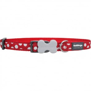 RED DINGO FULLY ADJUSTABLE DOG / PUPPY COLLARS RED SPOTS