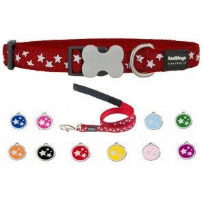 RED DINGO ADJUSTABLE DOG / PUPPY COLLAR & LEAD RED STARS AND TAG