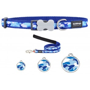 RED DINGO ADJUSTABLE DOG / PUPPY COLLAR & LEAD BLUE CAMOUFLAGE AND TAG