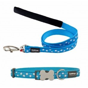 RED DINGO FULLY ADJUSTABLE DOG / PUPPY COLLAR & LEAD TURQUOISE STARS