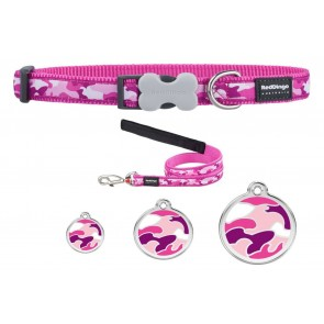 RED DINGO ADJUSTABLE DOG / PUPPY COLLAR & LEAD PINK CAMOUFLAGE AND TAG