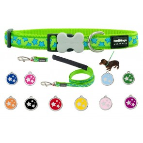 RED DINGO ADJUSTABLE DOG / PUPPY COLLAR & LEAD LIME GREEN STARS AND TAG