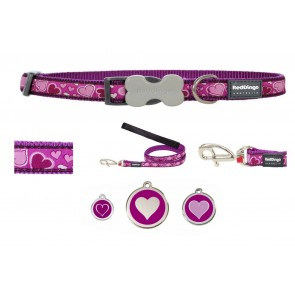 RED DINGO ADJUSTABLE DOG / PUPPY COLLAR & LEAD BREEZY LOVE PURPLE AND TAG