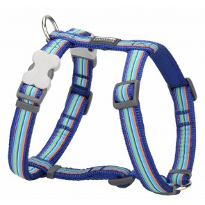 RED DINGO FULLY ADJUSTABLE DOG / PUPPY HARNESS BLUE STRIPE  Sizes XS - LG