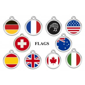 DOG / CAT TAGS - NATIONAL FLAGS FULLY ENGRAVED & GUARANTEED FOR LIFE
