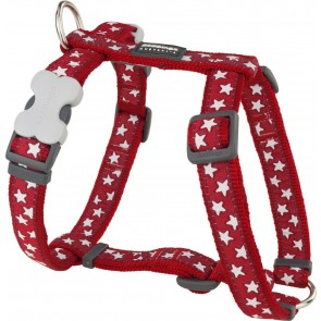 RED DINGO FULLY ADJUSTABLE DOG / PUPPY HARNESS RED STAR  Sizes XS - LG