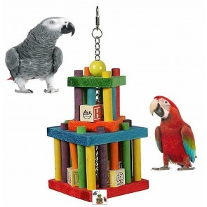 BUILDING BLOCK MAZE COLOURFUL WOODEN LARGE PARROT TOY AND OTHER BIRDS