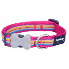 RED DINGO FULLY ADJUSTABLE DOG / PUPPY COLLARS HOT PINK STRIPE