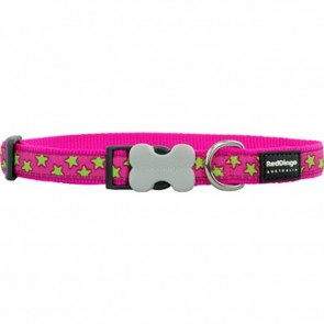 RED DINGO FULLY ADJUSTABLE DOG / PUPPY COLLARS HOT PINK STAR