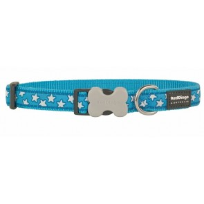 RED DINGO FULLY ADJUSTABLE DOG / PUPPY COLLARS TURQUOISE STAR